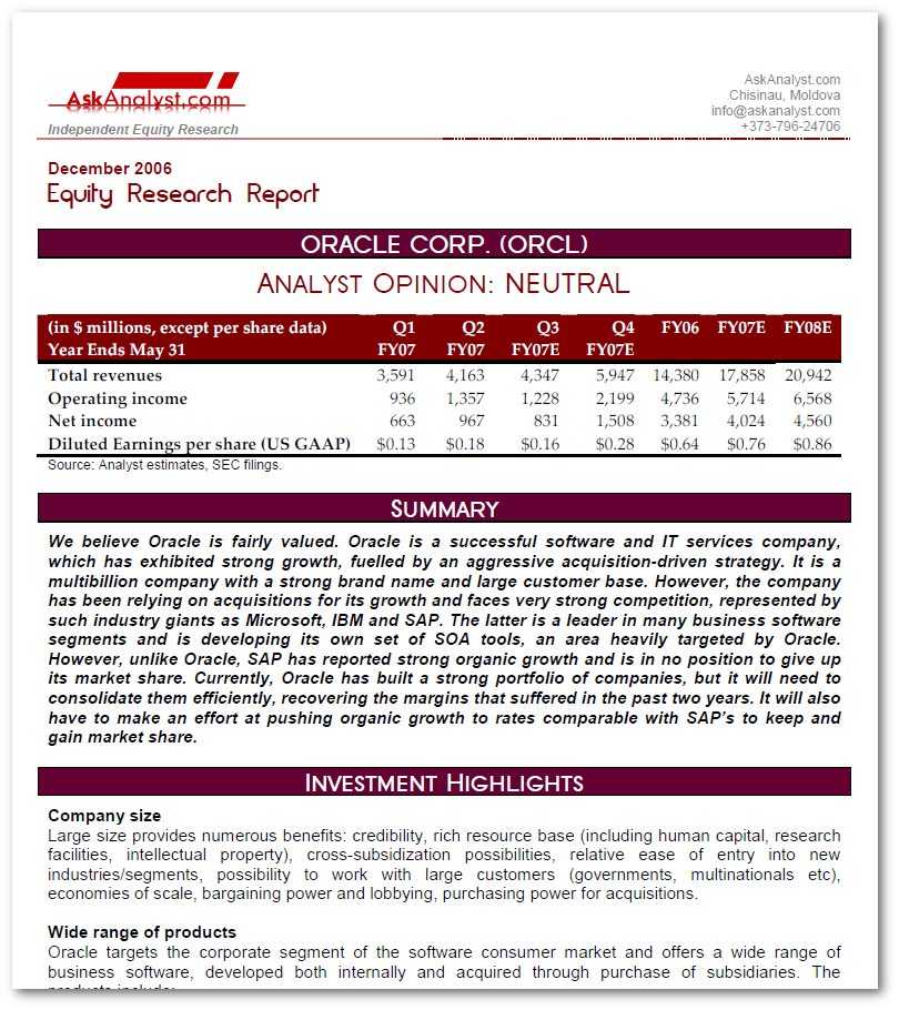 Oracle Sample Equity Research Report