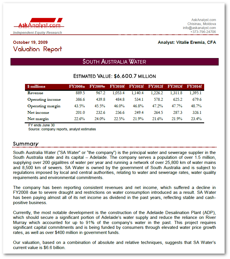 South Australia Water Equity Research and Valuation Report