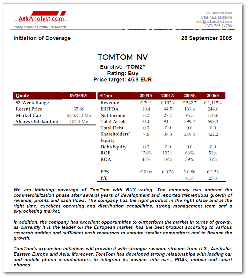 TomTom Sample Equity Research Report