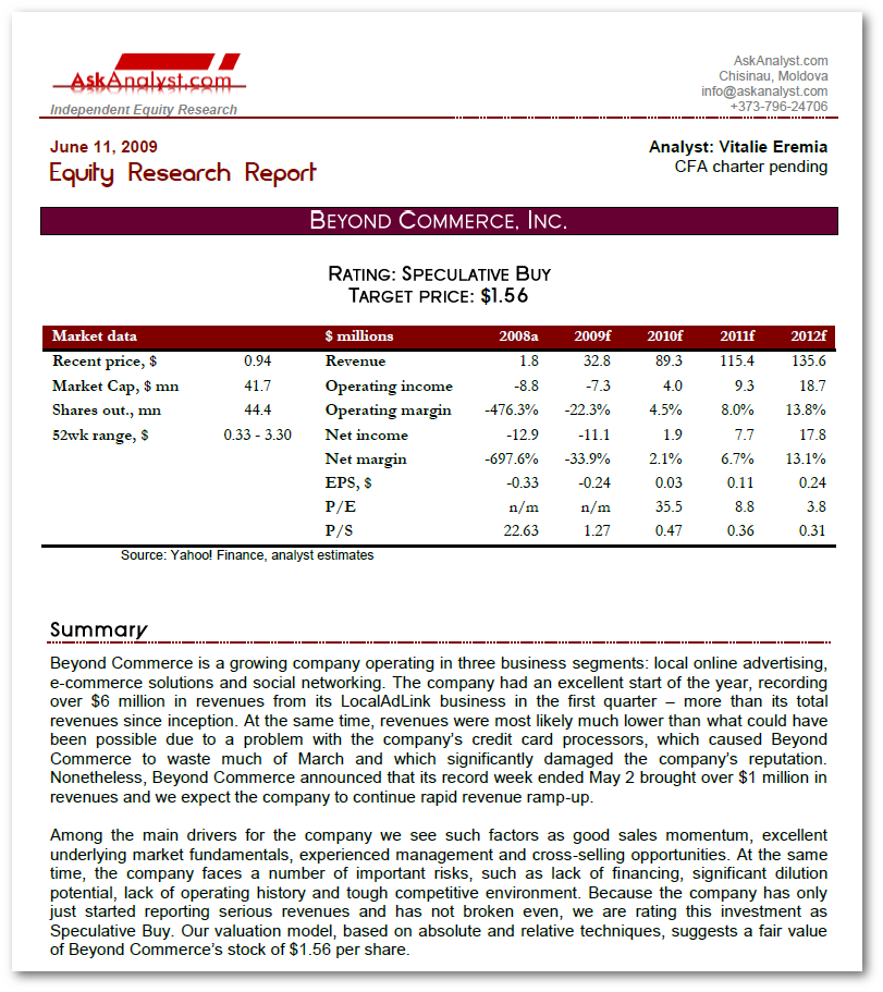 Beyond Commerce Inc. Equity Research and Valuation Report