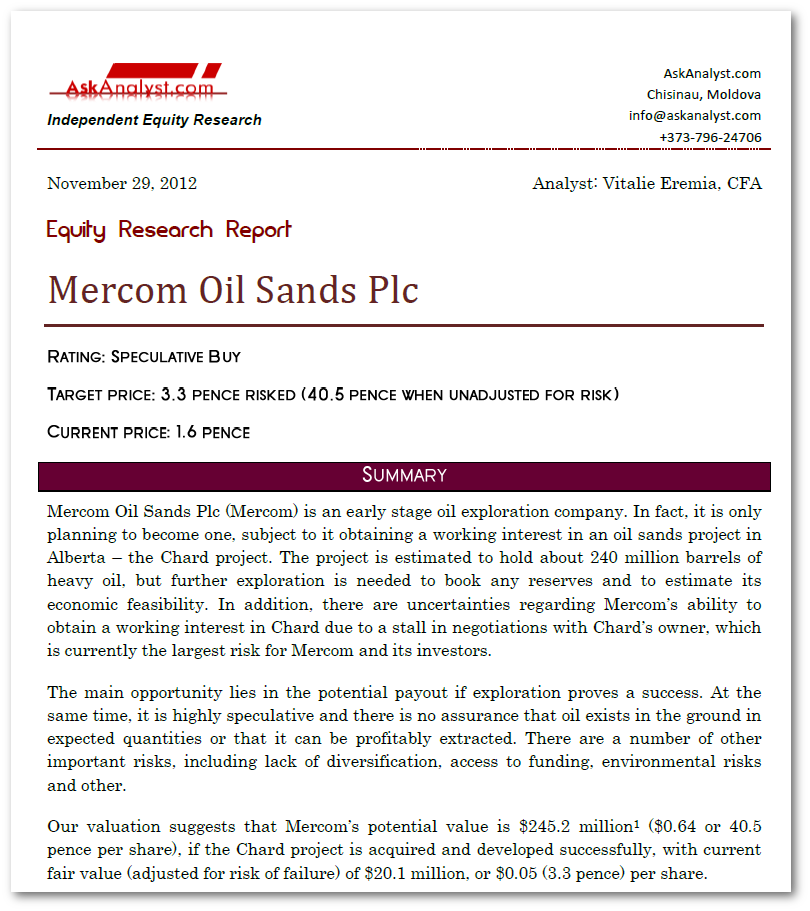 Mercom Oil Sands Plc Equity Research and Valuation Report